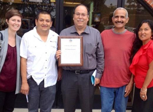 L-R, Alison Edwards, OC Human Relations; Jose Gomez; Edgar Medina, OC Human Relations; Fred Arreola; Denise Obrero, City of San Clemente