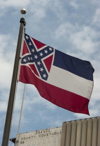 The Mississippi state flag flies among at the Civic Center's Plaza of the Flags in Santa Ana last month. FILE: ED CRISOSTOMO, STAFF PHOTOGRAPHER