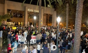 Over 300 people gather on the steps of Anaheim City Hall to hold a rally against hate after a bloody confrontation between the Ku Klux Klan and counter protestors at the Pearson Park last Saturday. Photo by LEONARD ORTIZ, ORANGE COUNTY REGISTER
