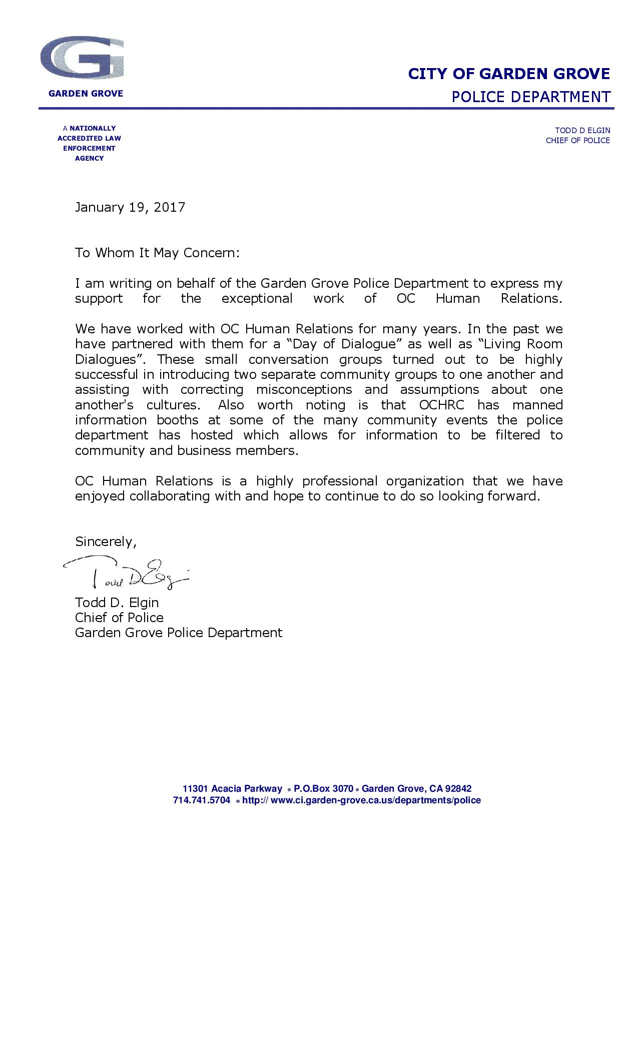 letters from our supporters oc human relations