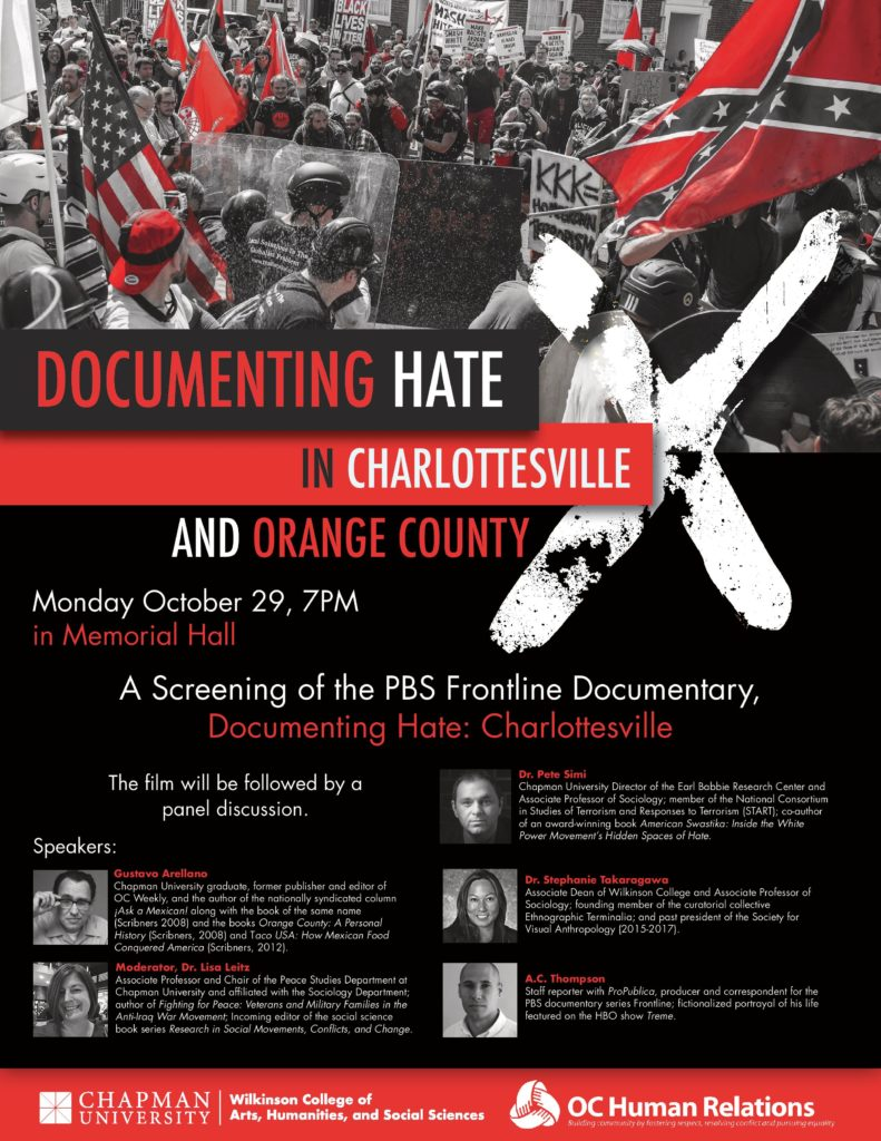 Documenting Hate in Charlottesville & Orange County @ Memorial Hall, Chapman University | Orange | California | United States