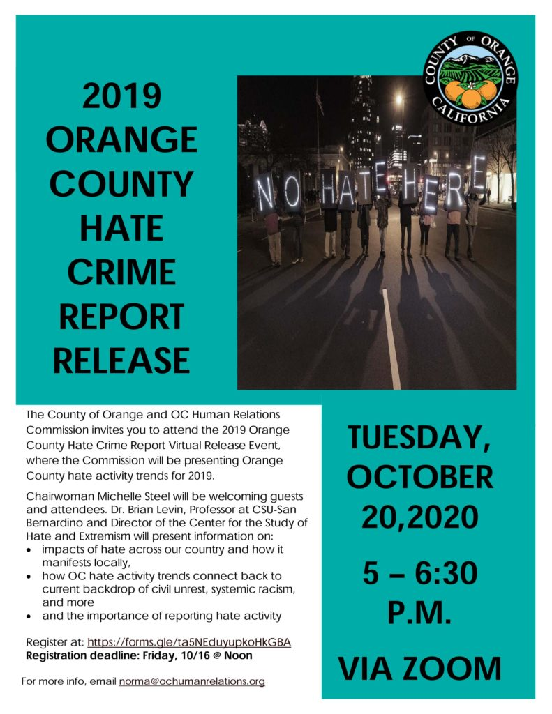 2019 Hate Crime Report Release flyer