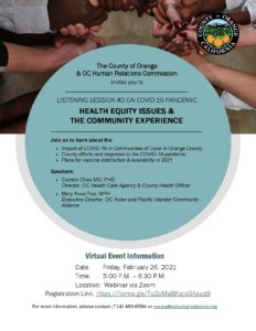 County Holds Listening Session on Health Equity @ Online