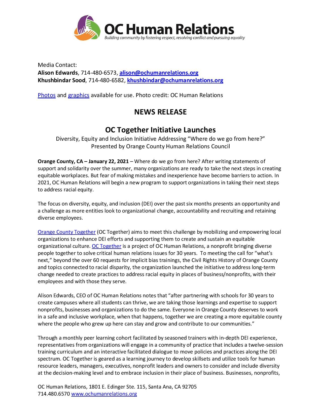 News Release: OC Together Initiative Launches
